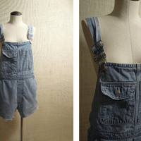90s GAP Denim Overall CutOffs Shorts Onesuit Romper Jumper Vintage Cut Off FAded Distressed One Piece Bib Suit // marked size medium M