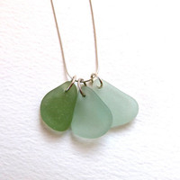 Sea Glass Trio Necklace Sterling Silver by thestrandline on Etsy