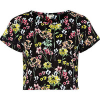 Black floral print cropped t-shirt - tops - sale - women
