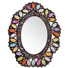 Product Details - Oval Gemmed Filigree Mirror