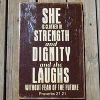 Typography Wall Art She Is Clothed in Strength and by 13pumpkins