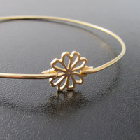 Tiny Flower Bangle Bracelet  Gold Flower Jewelry by FrostedWillow