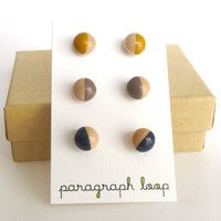 Mustard yellow, taupe, navy earring set, button post earrings, little studs, colorful earrings, neutral earrings, gift for her