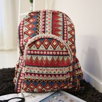 Fashion Folk Style Geometric Floral Print Backpack