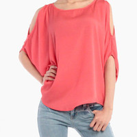Open Shoulder Yacht Top in Coral