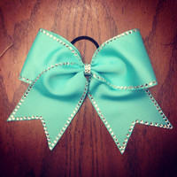 Turquoise Rhinestone Traced Bow other colors available by BowsByEm