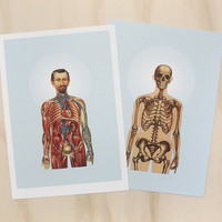 the inside man two (a4 giclee vintage medical bones skeleton skull anatomy style art print)