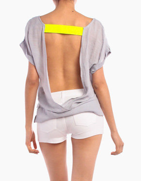 Backless Neon Band Top in Gray