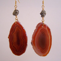 Amber Agate Slice &amp; Pyrite Gold Earrings  Banded by VictoryJewelry