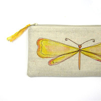 butterfly clutch spring fashion purse yellow by mamableudesigns