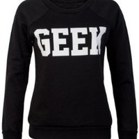 74H New Womens Geek Print Ladies Long Sleeved Winter Thick Jumper Top:Amazon:Clothing