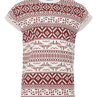 WHITE & BURGUNDY PATTERNED PRINTED T-SHIRT