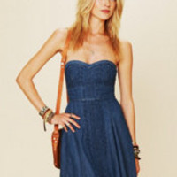 Free People Denim Fit and Flare Tube Dress at Free People Clothing Boutique