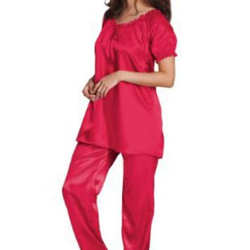 Amoureuse Women Plus Satin Peasant Trapeze Pajama