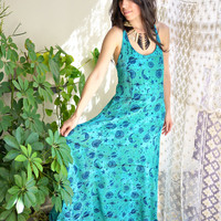 $58.00 90s Turquoise Galaxy Dress by PrismOfThreads on Etsy