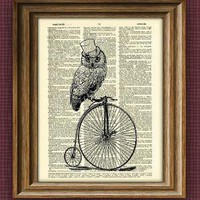 TOP HAT OWL on a PENNY FARTHING BICYCLE print over by collageOrama