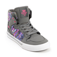 Supra Kids Vaider Charcoal Nubuck Skate Shoe at Zumiez : PDP