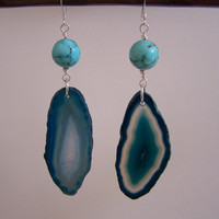 Teal Agate Slice &amp; Turquoise Earrings  Agate by VictoryJewelry