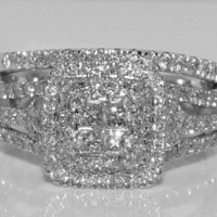 1ct Diamond Wedding SET Bridal 2pc Engagement Ring + Band Princess Cut 14k White Gold