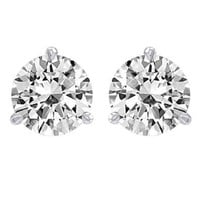 Diamond Stud Earrings Round Brilliant Shape Platinum 3 Prong Screw Back ( J Color SI2 Clarity 1 1/2 Carat t.w. Weight )