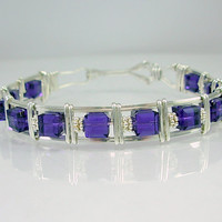 Swarovski & Sterling Silver Wire Wrapped Bracelet, Purple Velvet