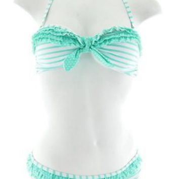 Mint Striped Bandeau Top & Low Rise Bottom Bikini Set Swimsuit (Large)