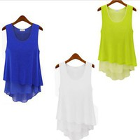 Fashion Future — Asymmetrical Chiffon Tank in 3 colors