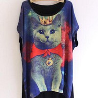 Loose Cat King Pattern Women T-shirt at Online Apparel Store Gofavor
