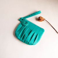 Green Turquoise Bridal Wedding Clutch Or Bridesmaid Clutch, Pouch, Wristlet, Purse - Romantic Rosebu