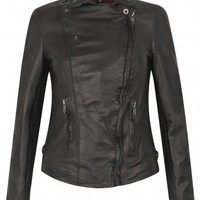 Muubaa Monteria Leather Biker Jacket in Dark Chocolate