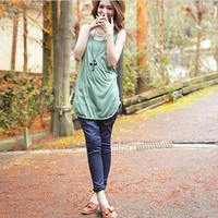 Fashion Design Fake Two-Piece Long Tank Top Light Green