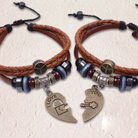 Retro Handmade Leather Heart-shaped Couple Bracelets