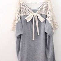 CASUAL CROCHET LACE TIE BACK BLOUSE