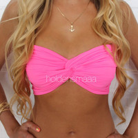 Spandex Bandeau  Solid Neon Pink by Holdensmaaa on Etsy