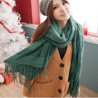 New Design Warm Pallium Stripe Pattern Plus Scarf Green