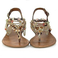 Alloy Chain and Beaded Rainbow Color Sandals HT625