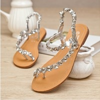 Womens Czech Rhinestone Thongs Sandals for Summer