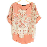 Gold Thread Embroidery Chiffon Shirt