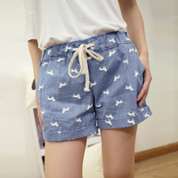 Cute Dogs Print Casual Denim Short