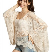 Lookbookstore Women Oversize Beige Batwing Floral Cut Out Lace Crochet Top Shirt