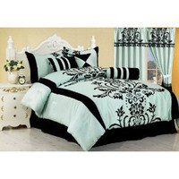 7 Pieces Aqua with Blue and Black Floral Flocking Comforter 90&quot;x92&quot; Set Bed-in-a-bag Queen Size Bedding