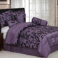 "7 Pieces Purple with Black Velvet Floral Flocking Comforter (92""x90"" in Inch) Set Bed-in-a-bag Queen Size Bedding"