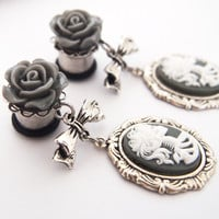Glamsquared — Macabre Madame Steel Cameo Dangly Plugs