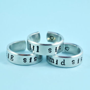 big sis/mid sis/ lil sis  -  Hand Stamped Rings Set, Newsprint Font, Shiny Aluminum, Forever Love, Friendship, BFF