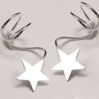 "Sterling Star EAR CUFF PAIR - ""Lone Star"" Silver Ear Cuffs"