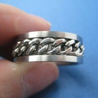 Unisex Textured Chain Band Ring in size 8 and 11 only
