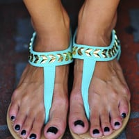 Follow The Arrows Sandals: Aqua | Hope's