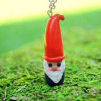 Handmade Miniature Red Hat Gnome Necklace - Whimsical & Unique Gift Ideas for the Coolest Gift Givers