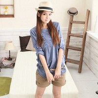 Leisure Japanese Design with Lace Embellished Long Sleeves Blouse Jean Blue