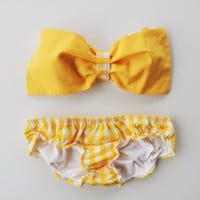Lemon Check Bow Bandeau Cotton Bikini Style Set. Vintage Bow Bandeau Sunsuit Bikini.Diva Halter neck top pin up.Custom Made